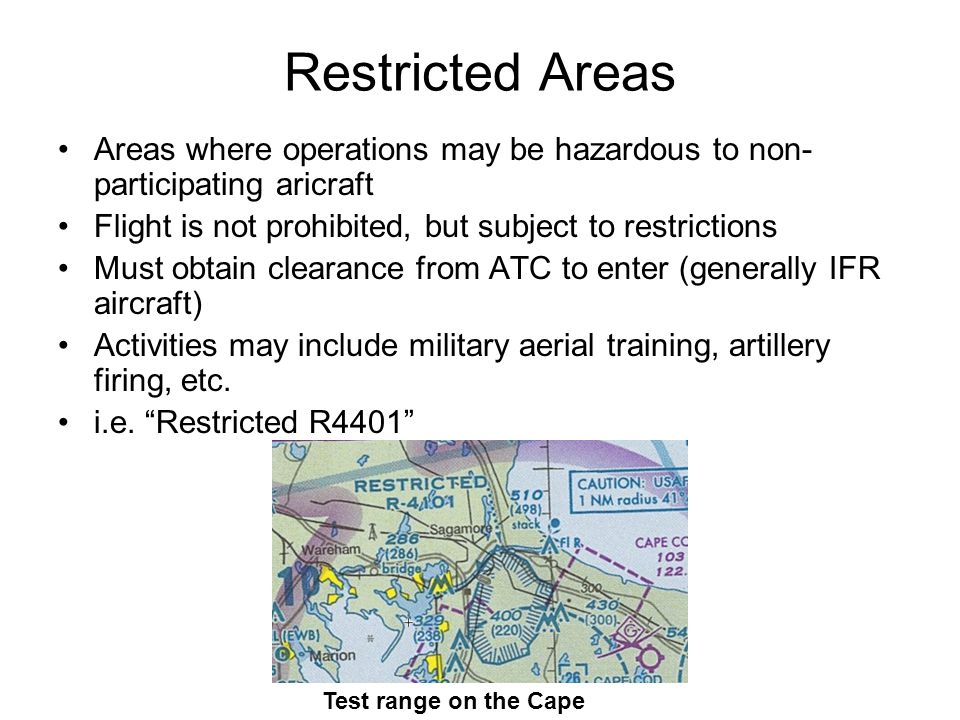 Restricted Areas Areas where operations may be hazardous to non-participating aricraft. Flight is not prohibited, but subject to restrictions.