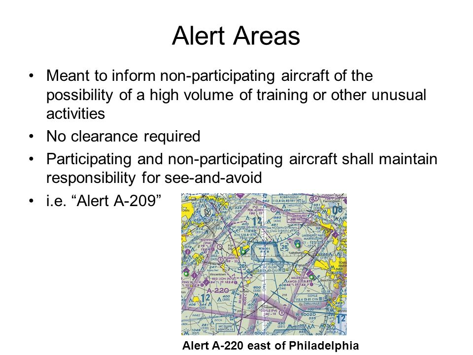 Alert Areas Meant to inform non-participating aircraft of the possibility of a high volume of training or other unusual activities.