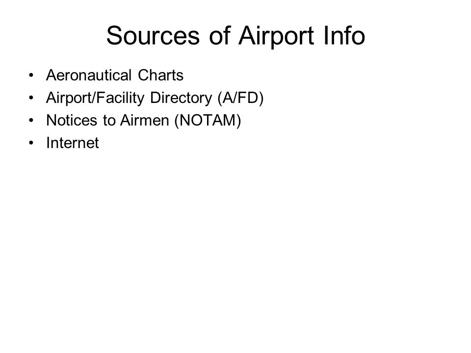 Sources of Airport Info