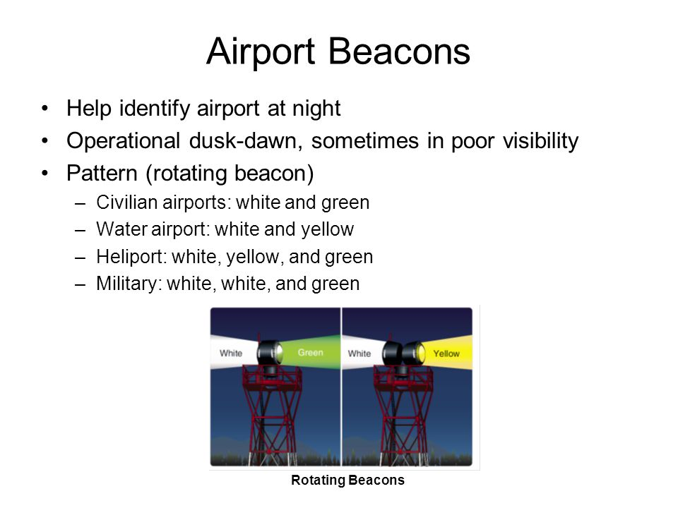 Airport Beacons Help identify airport at night