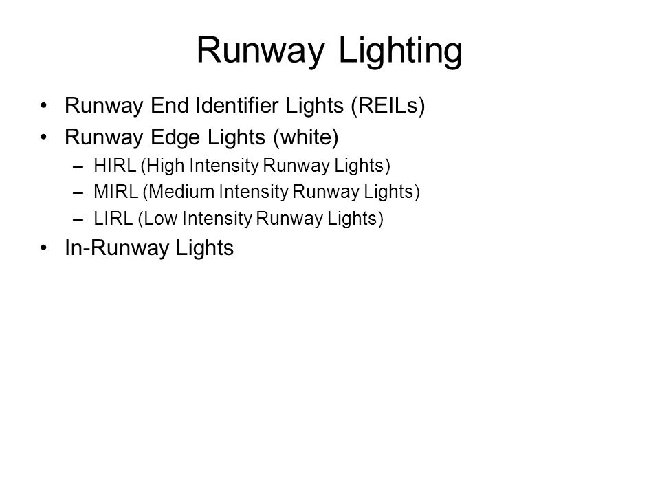 Runway Lighting Runway End Identifier Lights (REILs)