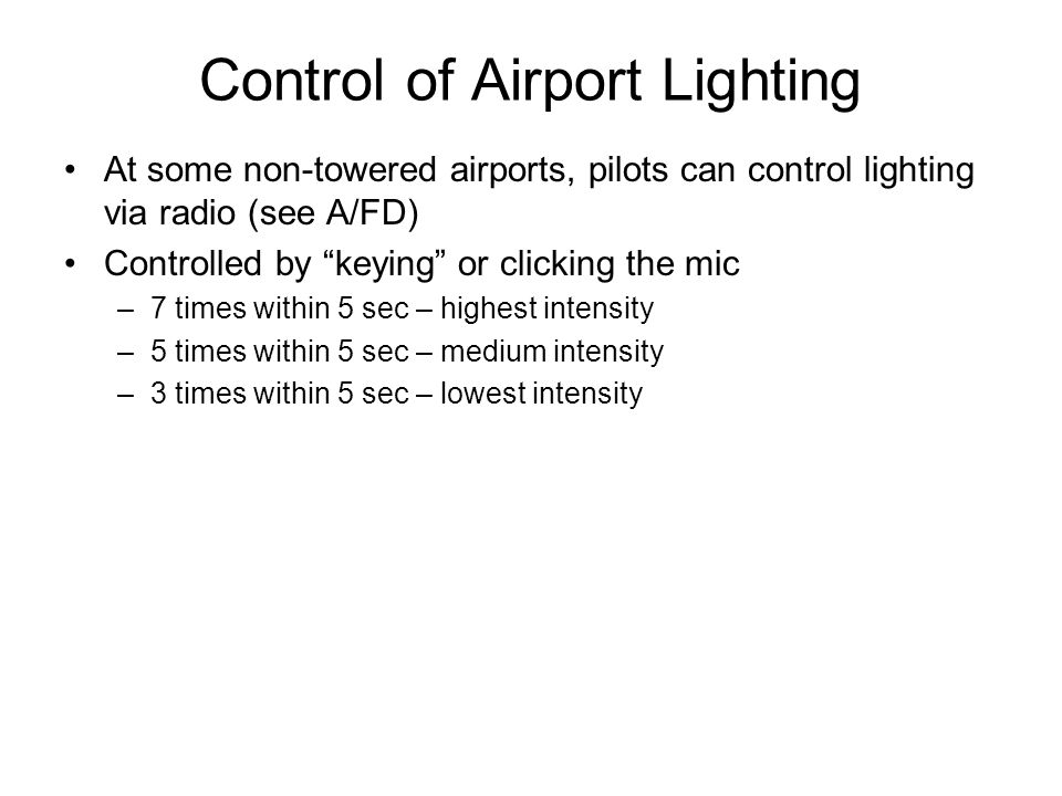 Control of Airport Lighting