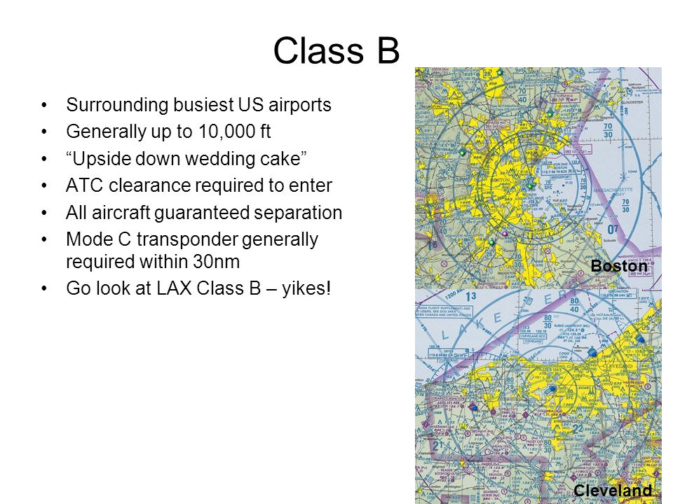 Class B Surrounding busiest US airports Generally up to 10,000 ft