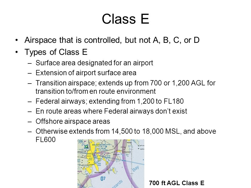 Class E Airspace that is controlled, but not A, B, C, or D