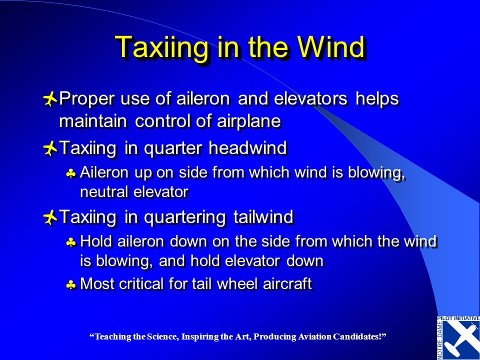 Taxiing in the Wind Proper use of aileron and elevators helps maintain control of airplane. Taxiing in quarter headwind.