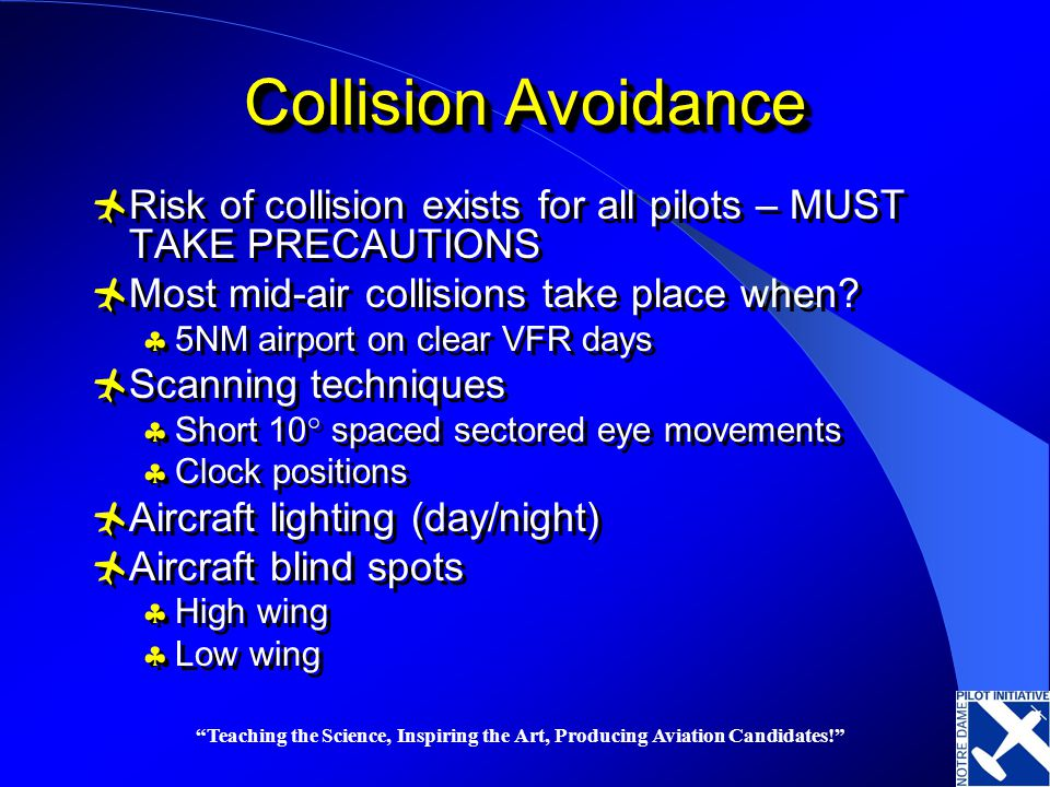 Collision Avoidance Risk of collision exists for all pilots – MUST TAKE PRECAUTIONS. Most mid-air collisions take place when