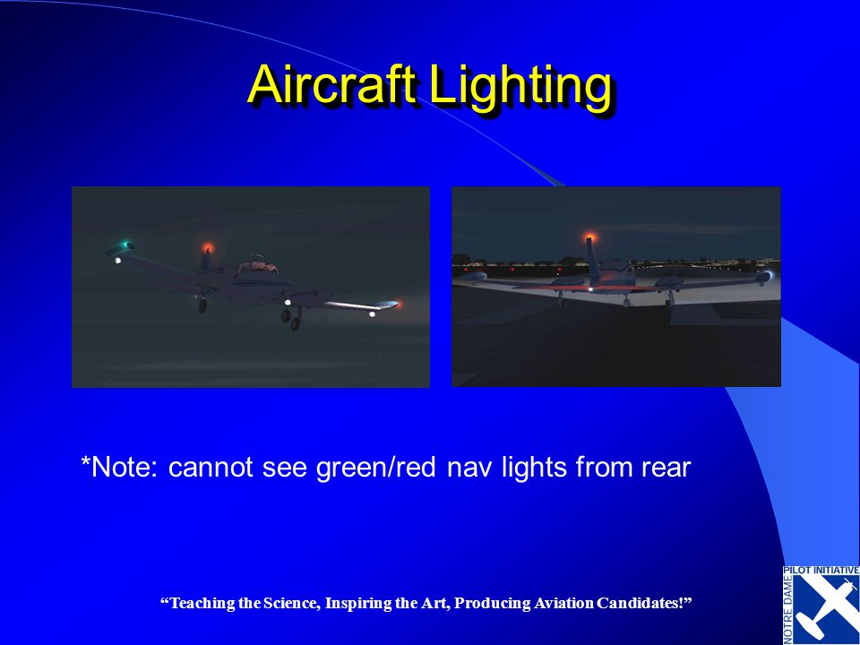 Aircraft Lighting *Note: cannot see green/red nav lights from rear