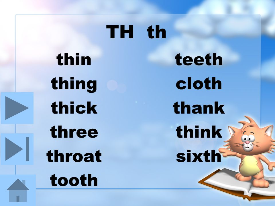 TH th thin thing thick three throat tooth