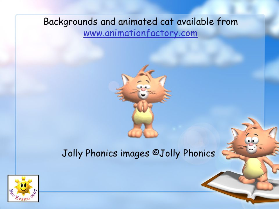 Backgrounds and animated cat available from www.animationfactory.com