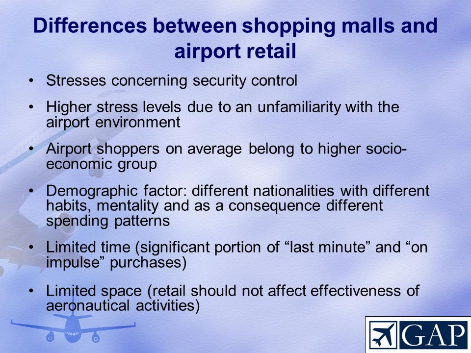 Differences between shopping malls and airport retail