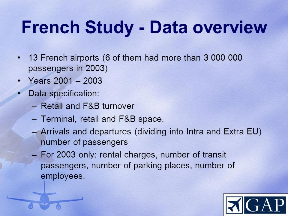 French Study - Data overview