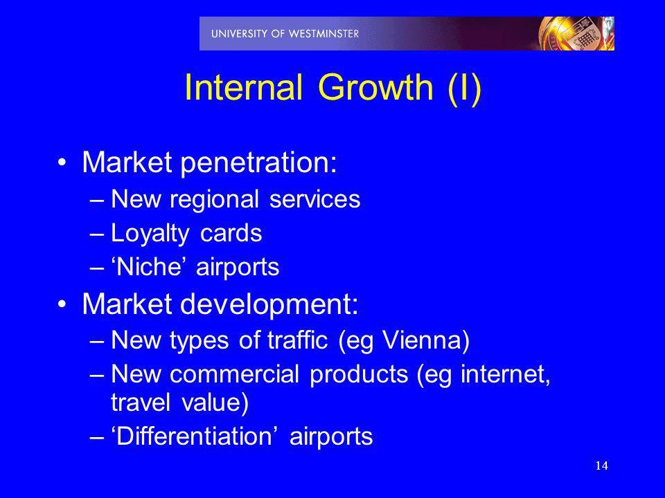 Internal Growth (I) Market penetration: Market development: