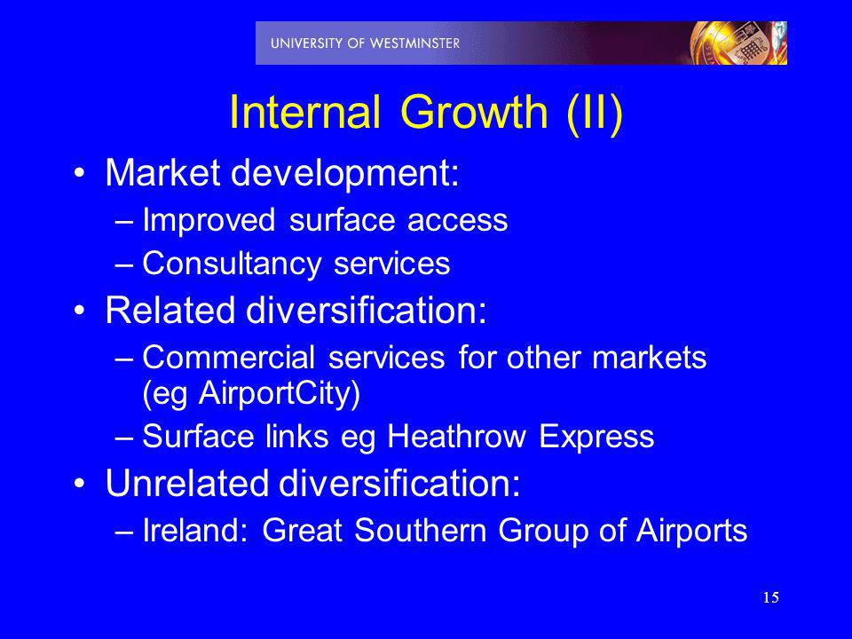 Internal Growth (II) Market development: Related diversification: