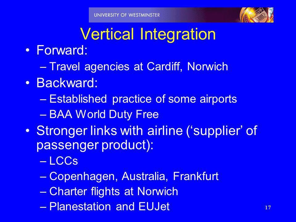 Vertical Integration Forward: Backward: