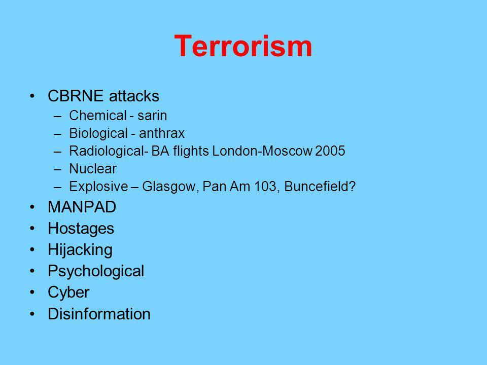 Terrorism CBRNE attacks MANPAD Hostages Hijacking Psychological Cyber