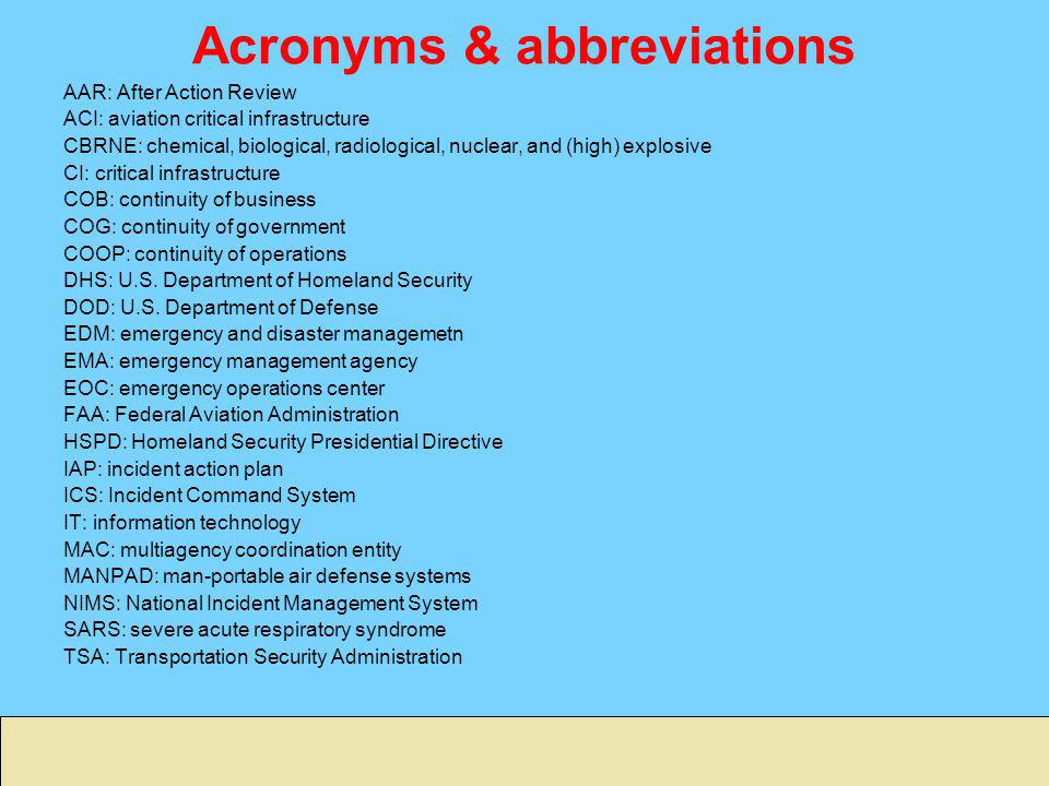 Acronyms & abbreviations