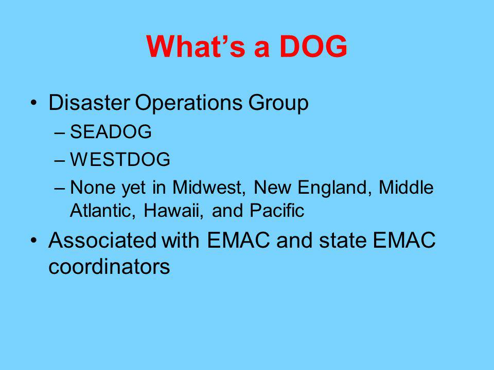 What's a DOG Disaster Operations Group