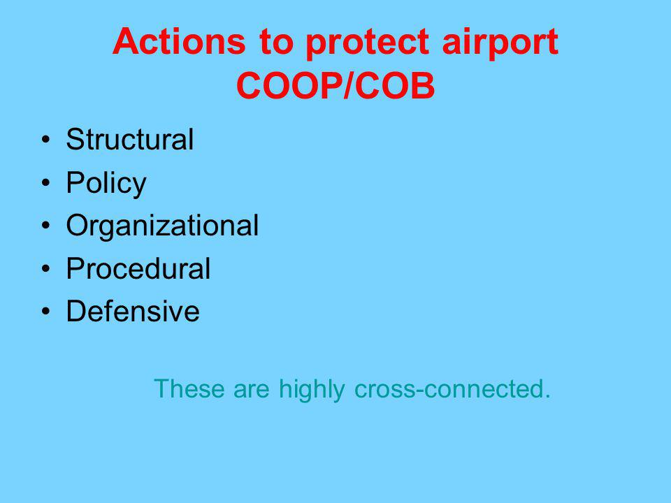 Actions to protect airport COOP/COB