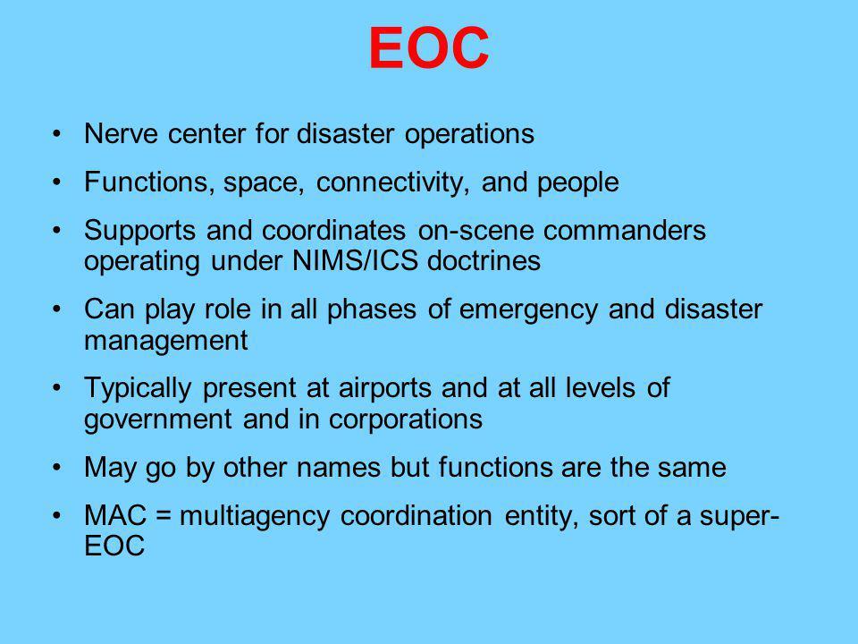 EOC Nerve center for disaster operations