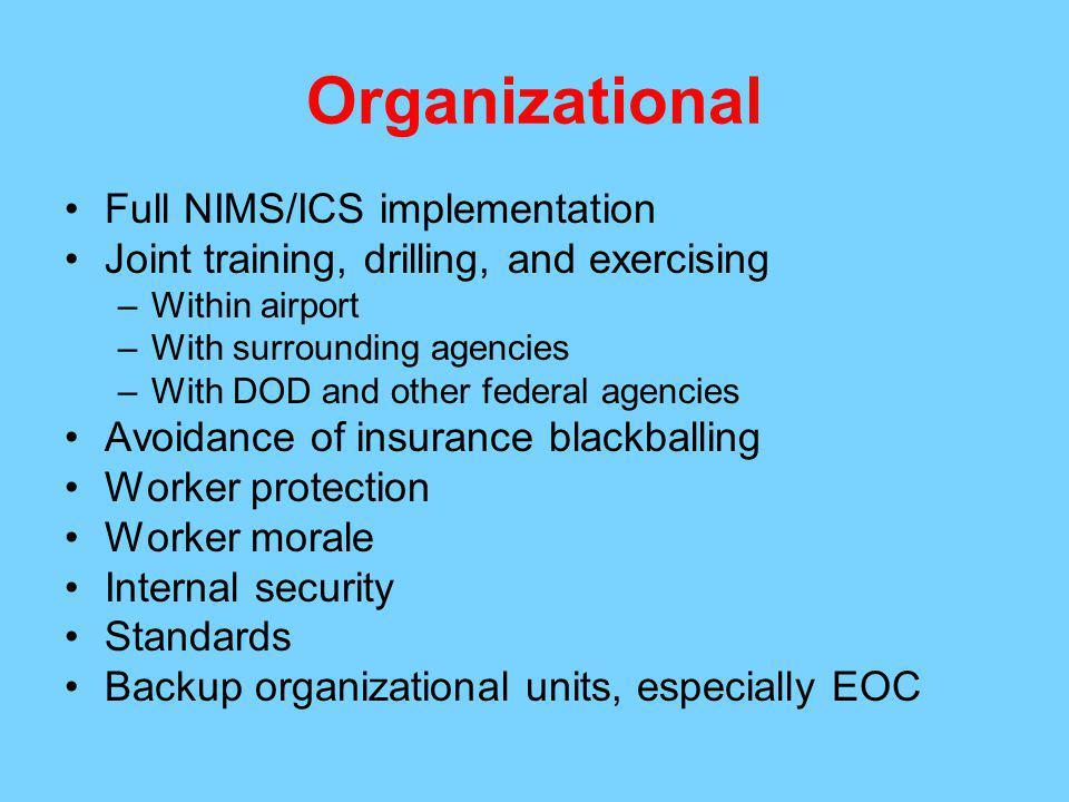 Organizational Full NIMS/ICS implementation