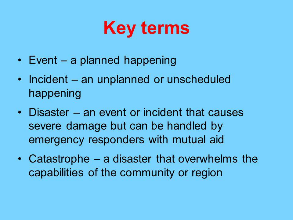 Key terms Event – a planned happening