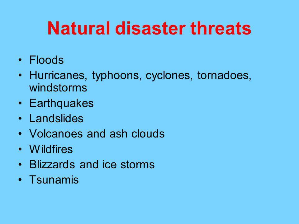 Natural disaster threats
