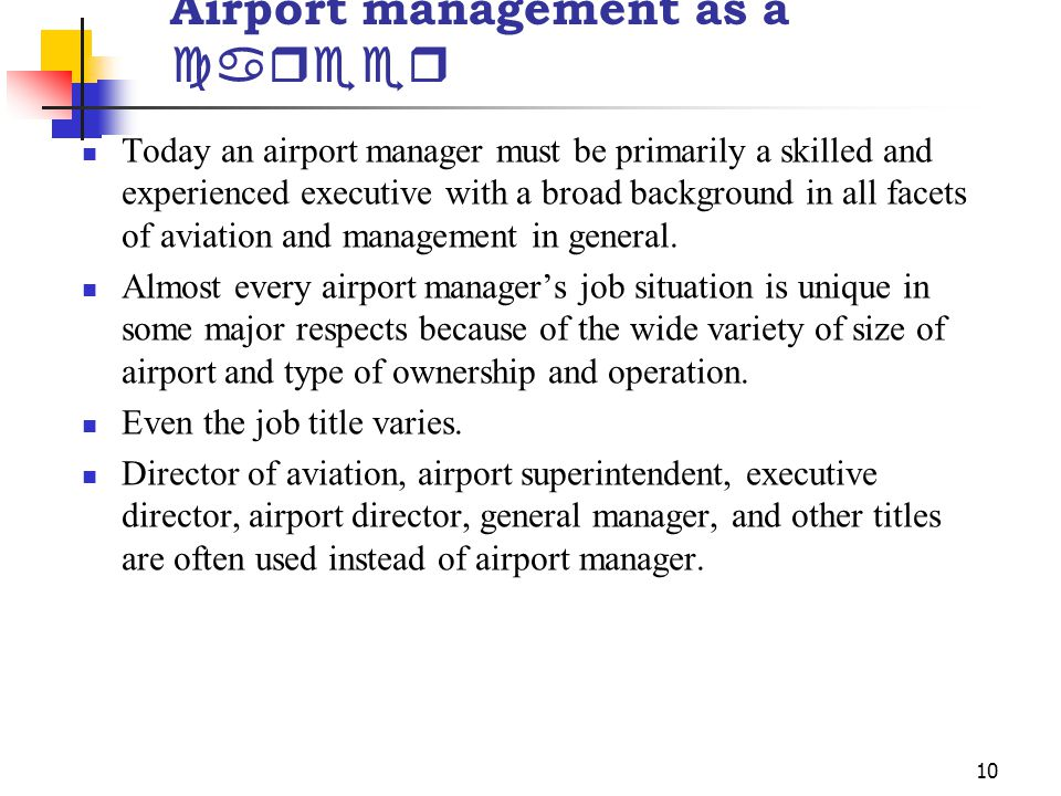 Airport management as a career