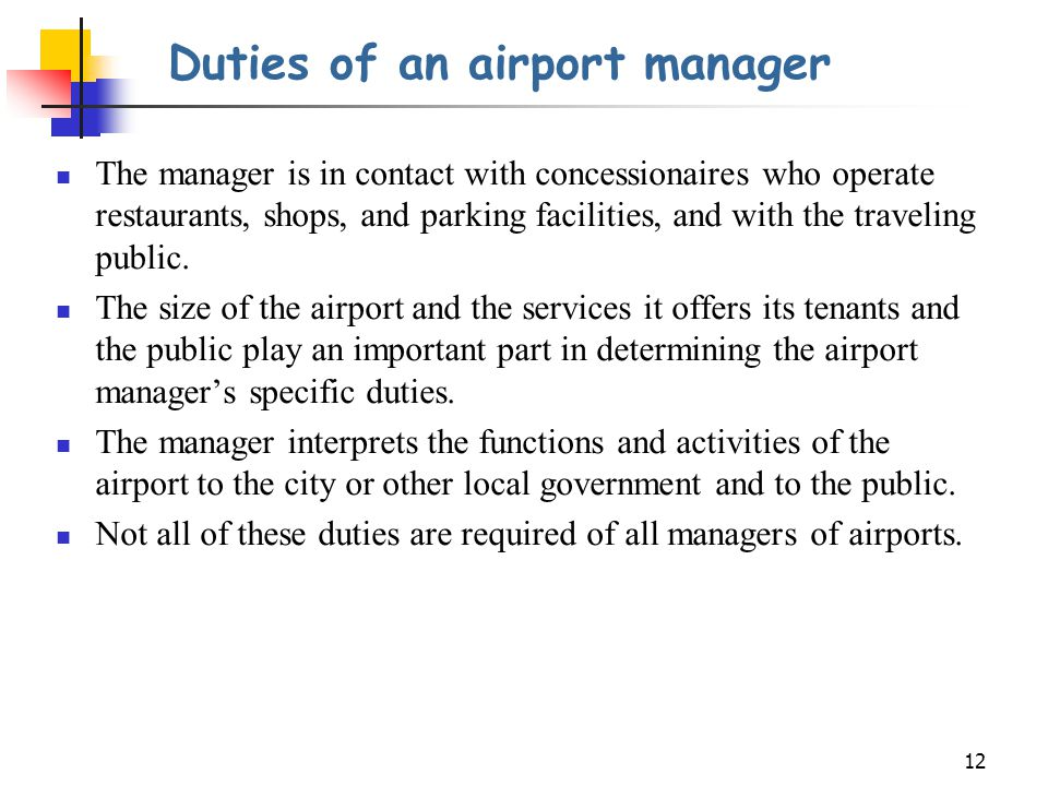 Duties of an airport manager