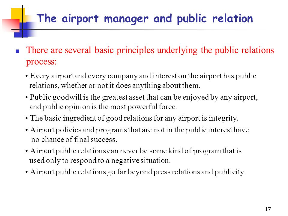 The airport manager and public relation