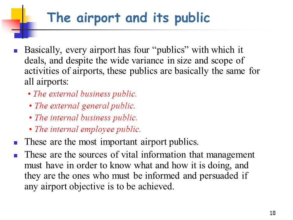 The airport and its public
