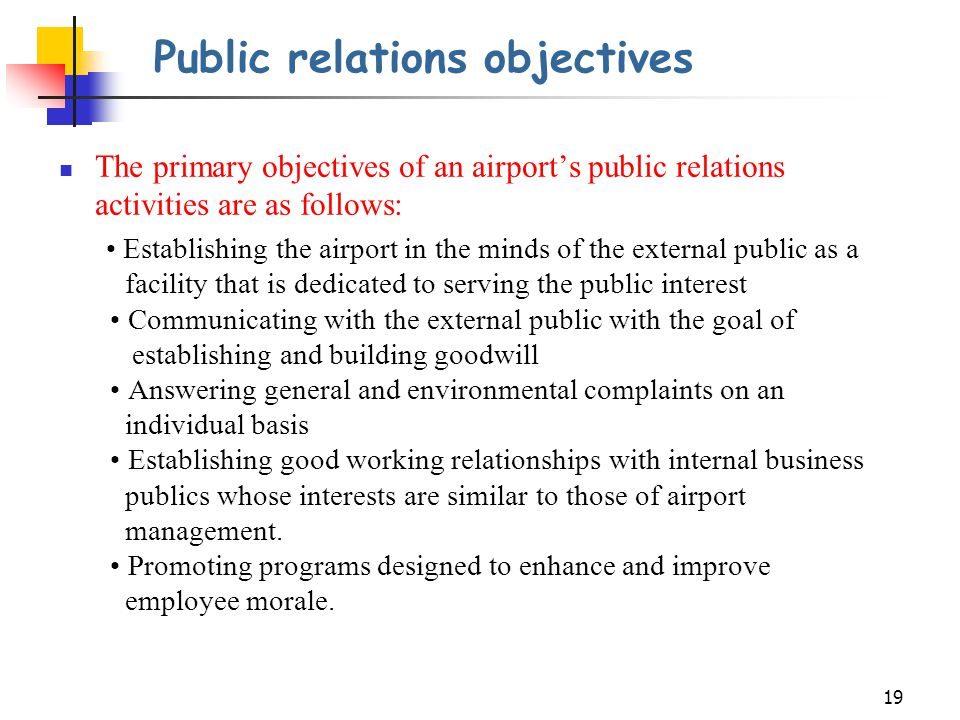 Public relations objectives
