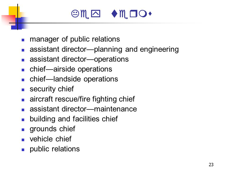 Key terms manager of public relations