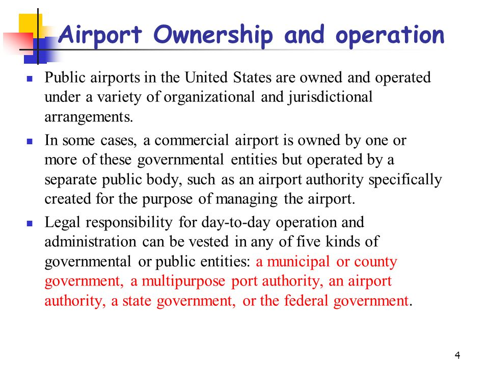 Airport Ownership and operation