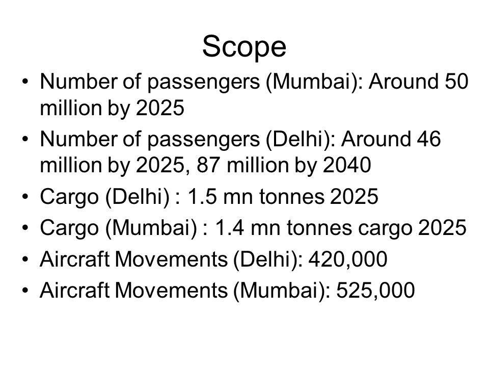 Scope Number of passengers (Mumbai): Around 50 million by 2025
