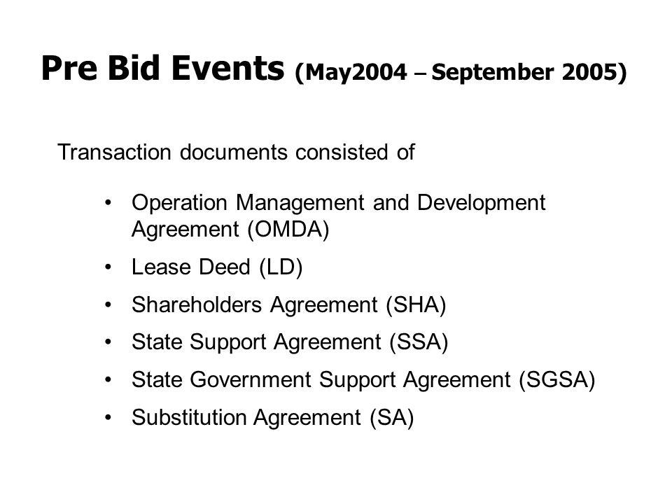 Pre Bid Events (May2004 – September 2005)