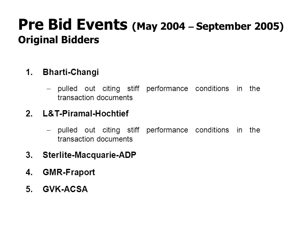 Pre Bid Events (May 2004 – September 2005)