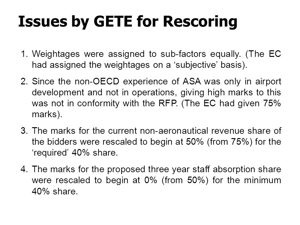 Issues by GETE for Rescoring