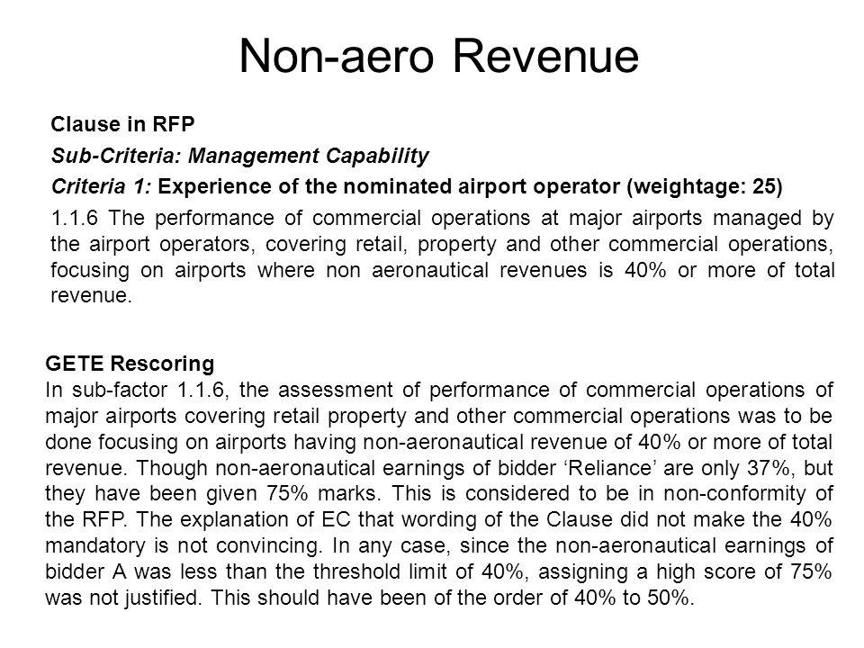 Non-aero Revenue Clause in RFP Sub-Criteria: Management Capability