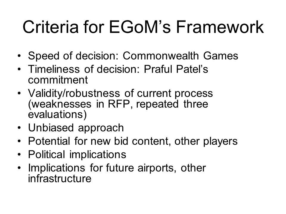 Criteria for EGoM's Framework