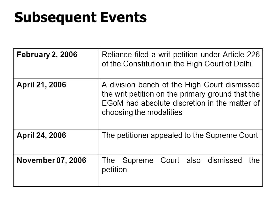 Subsequent Events February 2, 2006