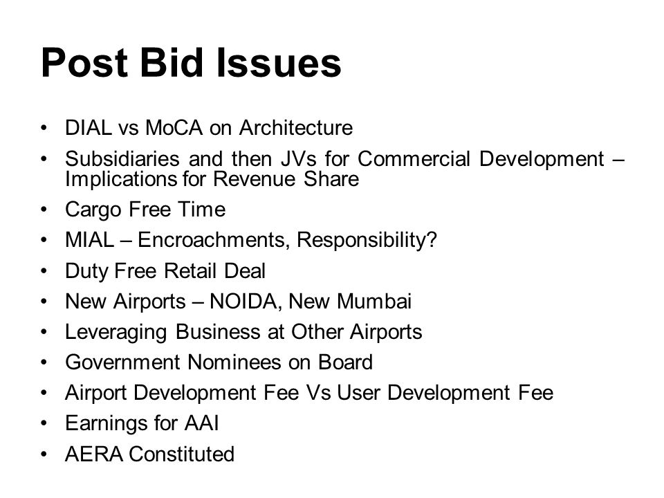 Post Bid Issues DIAL vs MoCA on Architecture