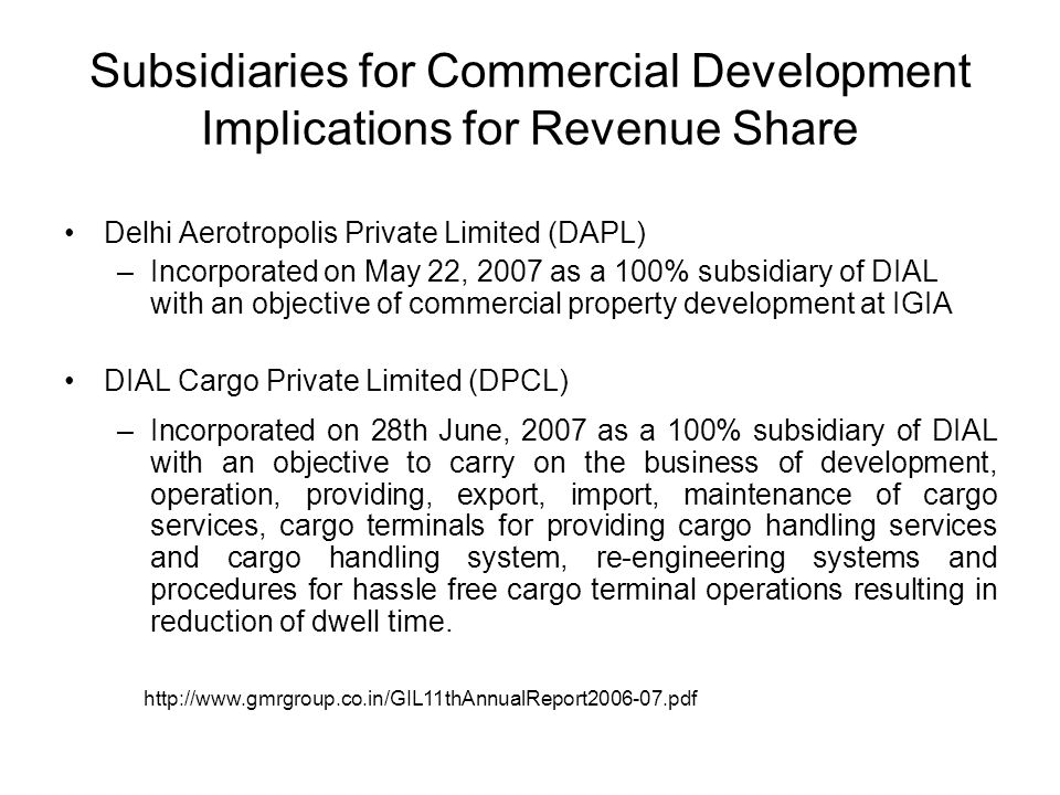 Subsidiaries for Commercial Development Implications for Revenue Share