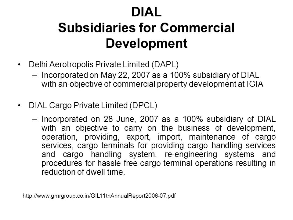 DIAL Subsidiaries for Commercial Development
