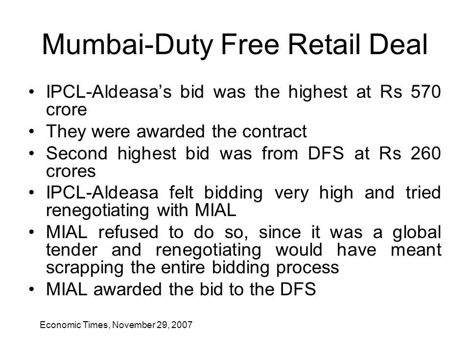 Mumbai-Duty Free Retail Deal