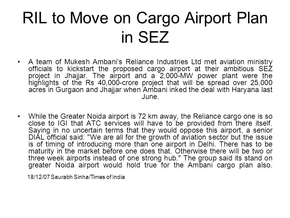 RIL to Move on Cargo Airport Plan in SEZ