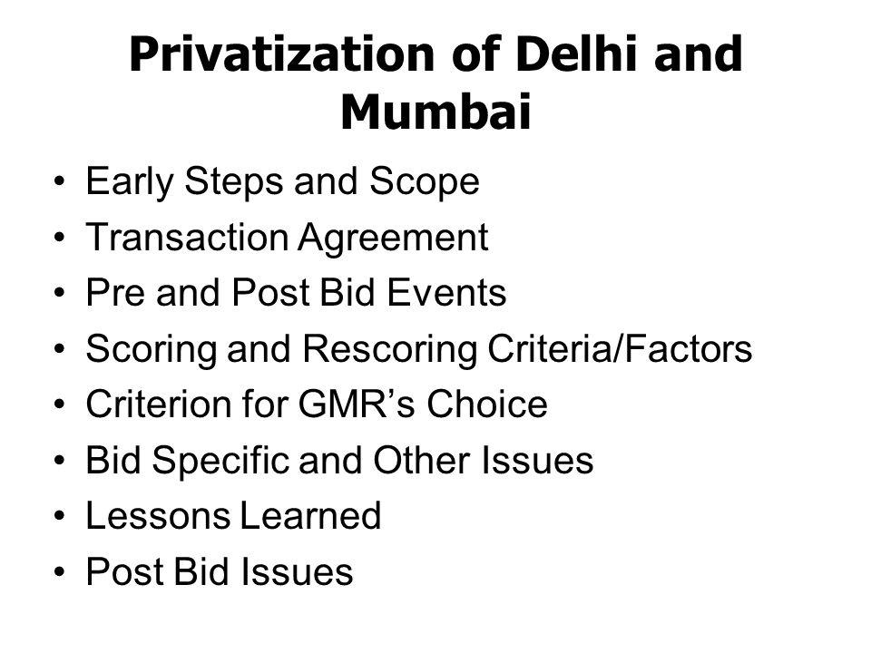 Privatization of Delhi and Mumbai