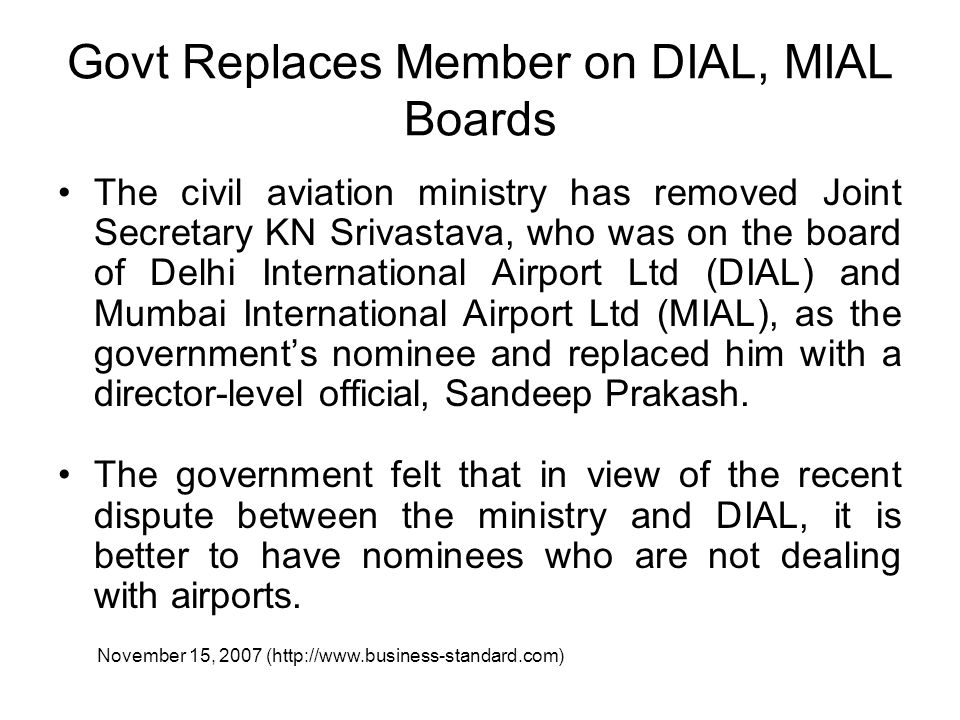 Govt Replaces Member on DIAL, MIAL Boards