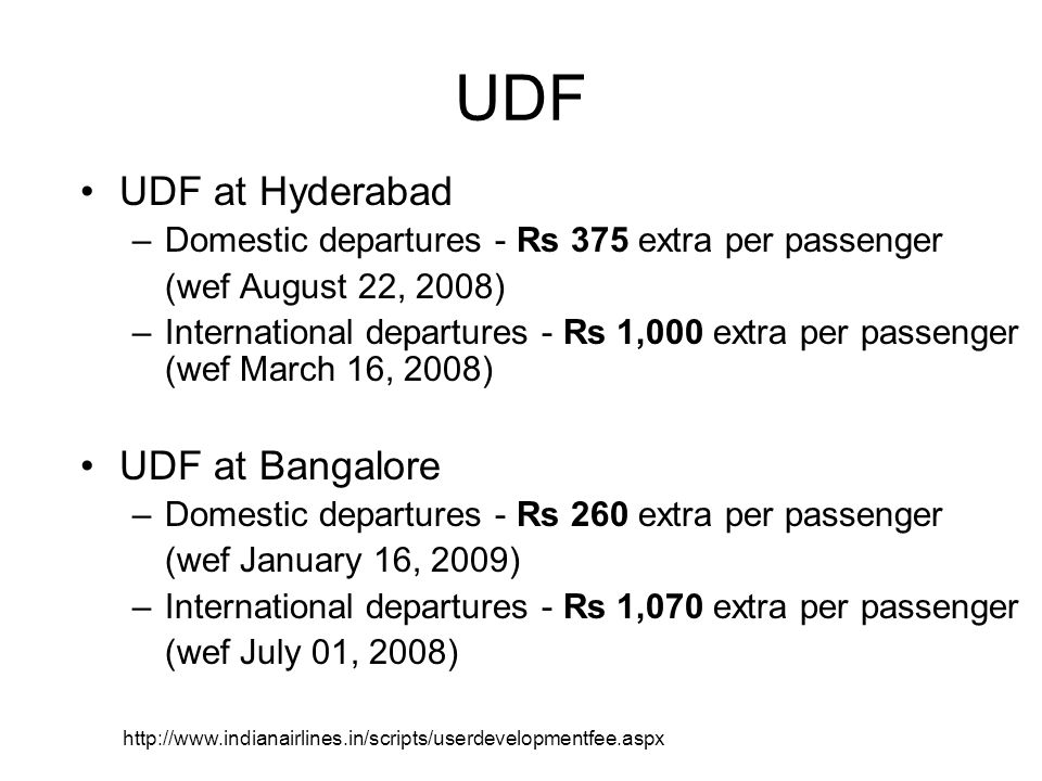 UDF UDF at Hyderabad UDF at Bangalore