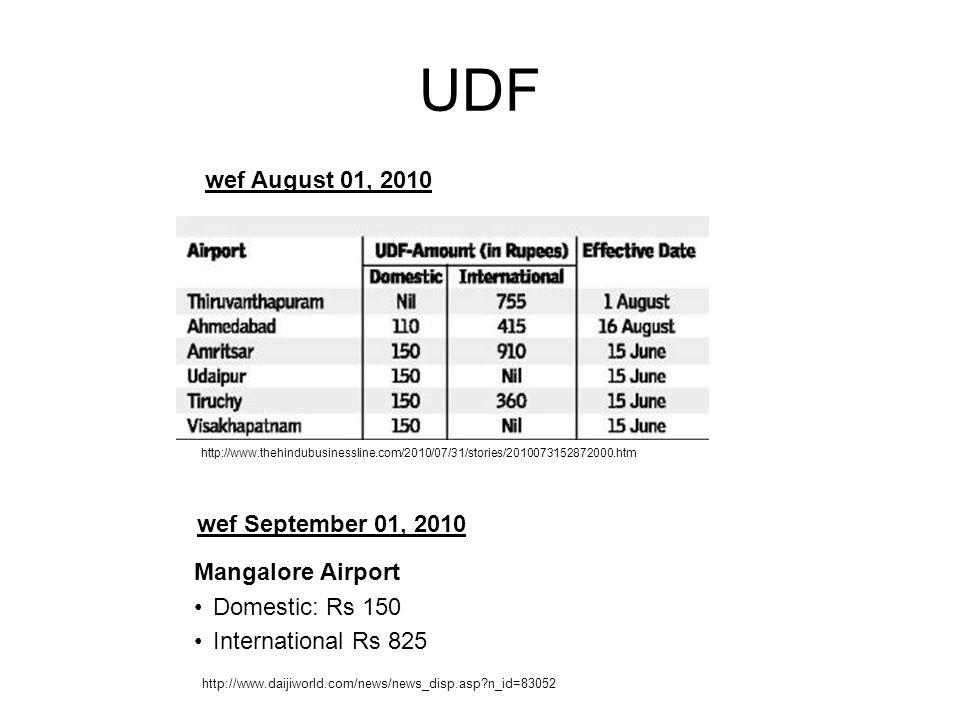 UDF wef August 01, 2010 wef September 01, 2010 Mangalore Airport