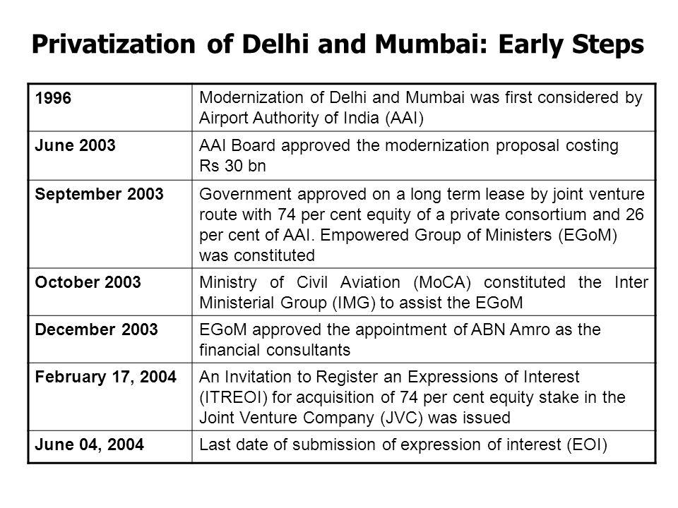 Privatization of Delhi and Mumbai: Early Steps
